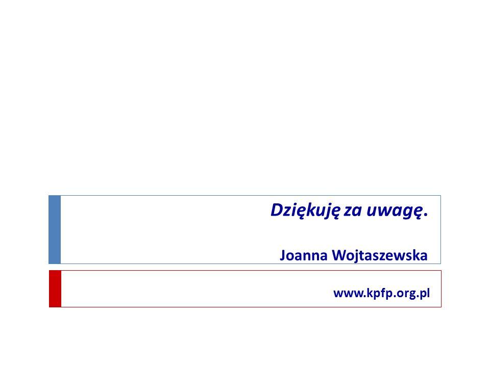 Dziękuję za uwagę. Joanna Wojtaszewska www.kpfp.org.pl