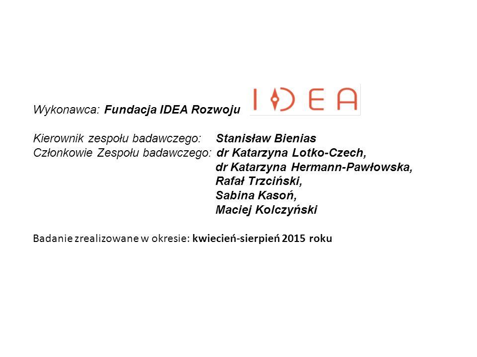 Wykonawca: Fundacja IDEA Rozwoju Kierownik zespołu badawczego: Stanisław Bienias Członkowie Zespołu badawczego: dr Katarzyna Lotko-Czech, dr Katarzyna
