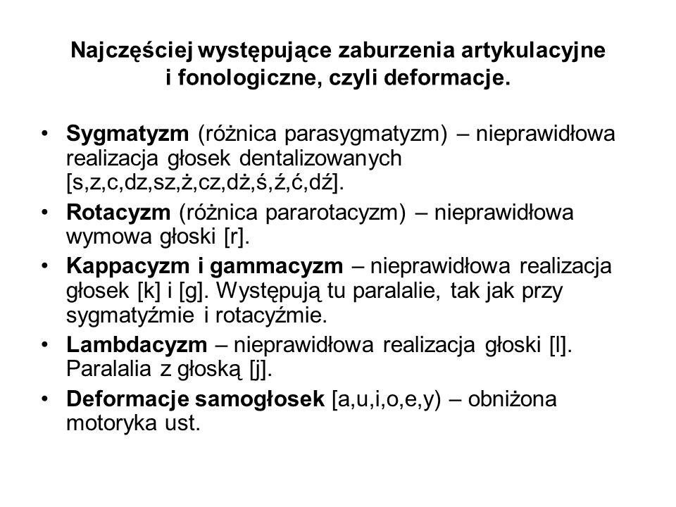 Najczęściej występujące zaburzenia artykulacyjne i fonologiczne, czyli deformacje. Sygmatyzm (różnica parasygmatyzm) – nieprawidłowa realizacja głosek