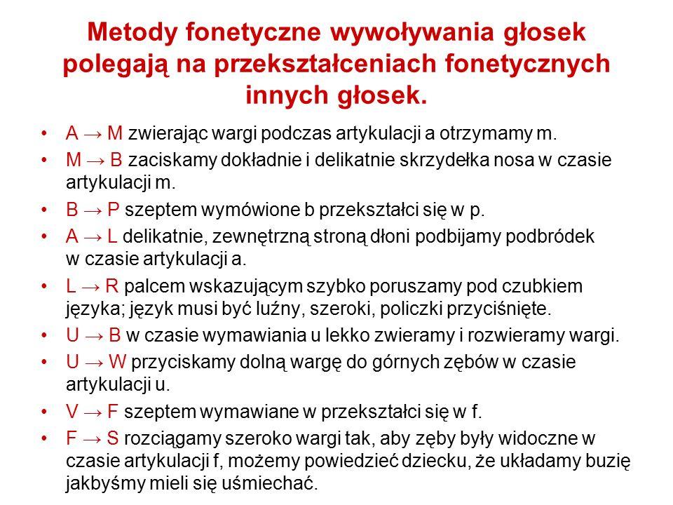 Metody fonetyczne wywoływania głosek polegają na przekształceniach fonetycznych innych głosek. A → M zwierając wargi podczas artykulacji a otrzymamy m