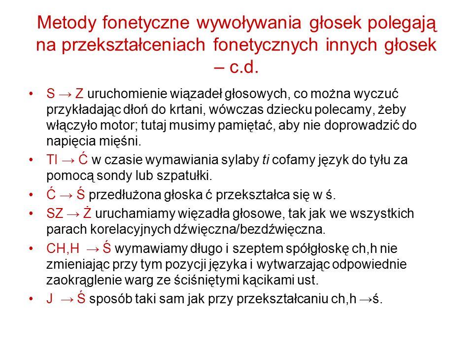 Metody fonetyczne wywoływania głosek polegają na przekształceniach fonetycznych innych głosek – c.d. S → Z uruchomienie wiązadeł głosowych, co można w