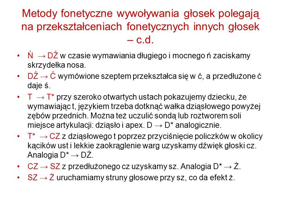 Metody fonetyczne wywoływania głosek polegają na przekształceniach fonetycznych innych głosek – c.d. Ń → DŹ w czasie wymawiania długiego i mocnego ń z