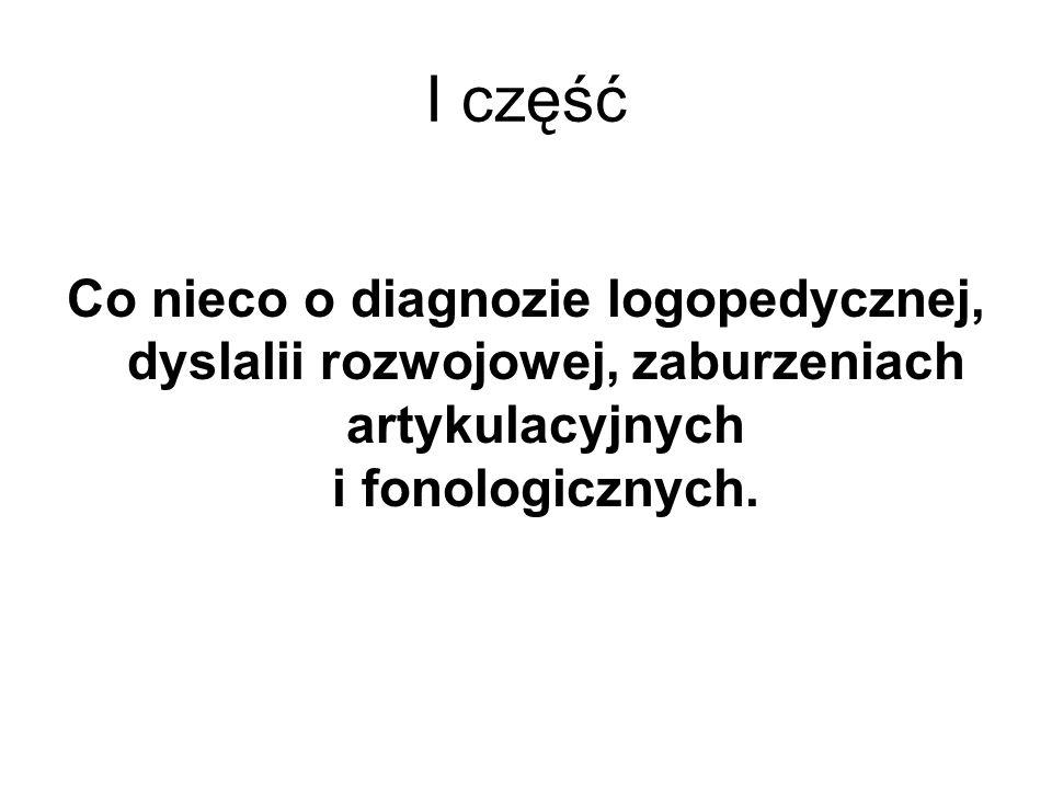 I część Co nieco o diagnozie logopedycznej, dyslalii rozwojowej, zaburzeniach artykulacyjnych i fonologicznych.