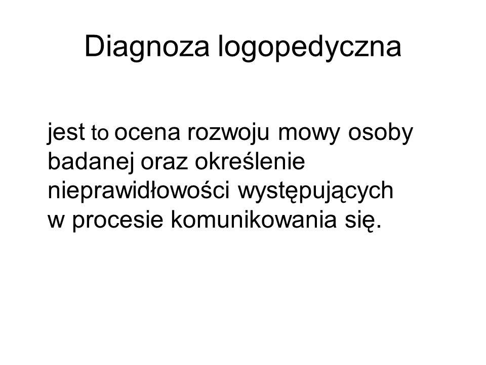 Diagnoza logopedyczna jest to ocena rozwoju mowy osoby badanej oraz określenie nieprawidłowości występujących w procesie komunikowania się.