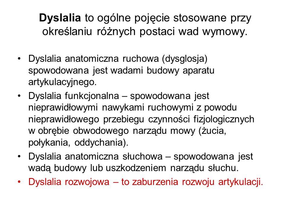Dyslalia to ogólne pojęcie stosowane przy określaniu różnych postaci wad wymowy. Dyslalia anatomiczna ruchowa (dysglosja) spowodowana jest wadami budo