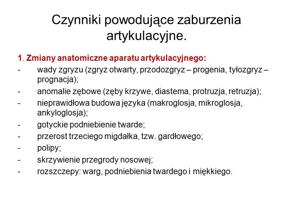 Czynniki powodujące zaburzenia artykulacyjne – cd.