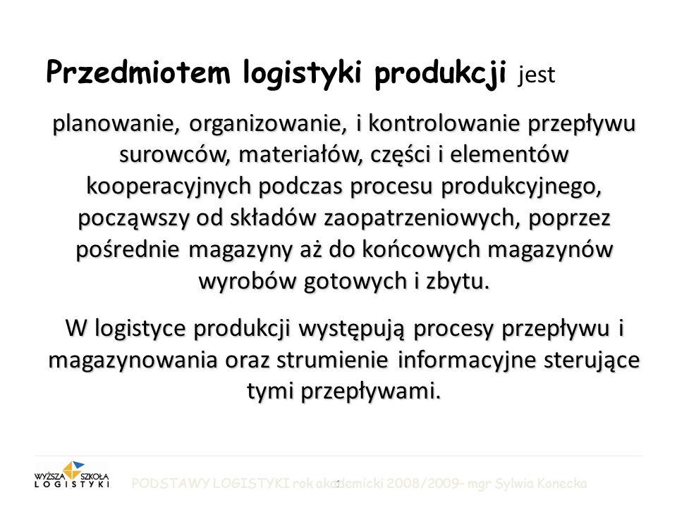 2 LOGISTYKA PRODUKCJI Cele zarządzania logistycznego w sferze produkcji to: zagwarantowanie ciągłości i rytmiczności procesów produkcyjnych, utrzymanie wysokiej jakości produkowanych wyrobów, minimalizacja zapasów produkcji w toku, zwiększenie terminowości i skracanie cykli produkcyjnych.
