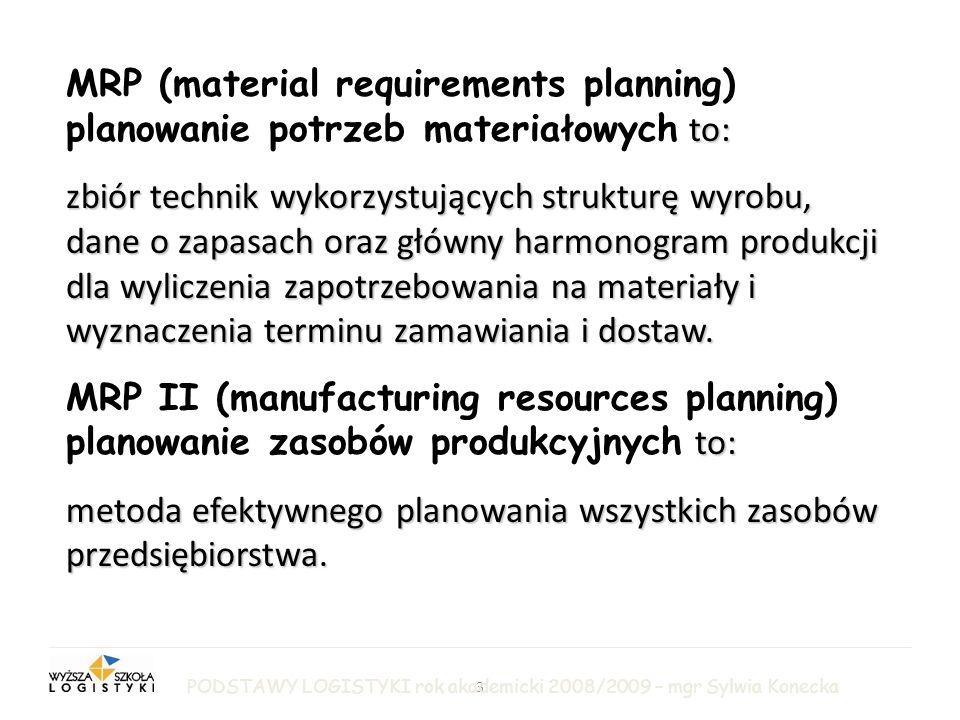 3 LOGISTYKA PRODUKCJI to: MRP (material requirements planning) planowanie potrzeb materiałowych to: zbiór technik wykorzystujących strukturę wyrobu, dane o zapasach oraz główny harmonogram produkcji dla wyliczenia zapotrzebowania na materiały i wyznaczenia terminu zamawiania i dostaw.