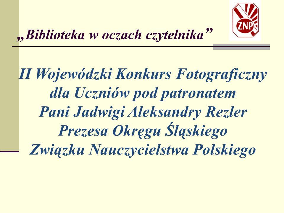 """"""" Biblioteka w oczach czytelnika Kategoria: Gimnazjum II miejsce Justyna Baryła, Gimnazjum nr 5 w Częstochowie, opiekun Alina Grabna, za zdjęcie: """"Aktyw biblioteczny w działaniu ."""