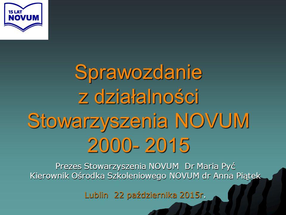 Sprawozdanie z działalności Stowarzyszenia NOVUM 2000- 2015 Prezes Stowarzyszenia NOVUM Dr Maria Pyć Kierownik Ośrodka Szkoleniowego NOVUM dr Anna Pią