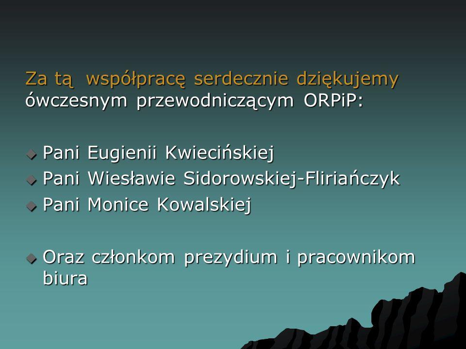 Za tą współpracę serdecznie dziękujemy ówczesnym przewodniczącym ORPiP:  Pani Eugienii Kwiecińskiej  Pani Wiesławie Sidorowskiej-Fliriańczyk  Pani Monice Kowalskiej  Oraz członkom prezydium i pracownikom biura