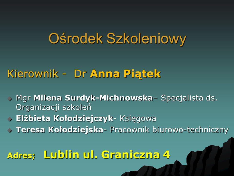 Ośrodek Szkoleniowy Kierownik - Dr Anna Piątek  Mgr Milena Surdyk-Michnowska– Specjalista ds. Organizacji szkoleń  Elżbieta Kołodziejczyk- Księgowa