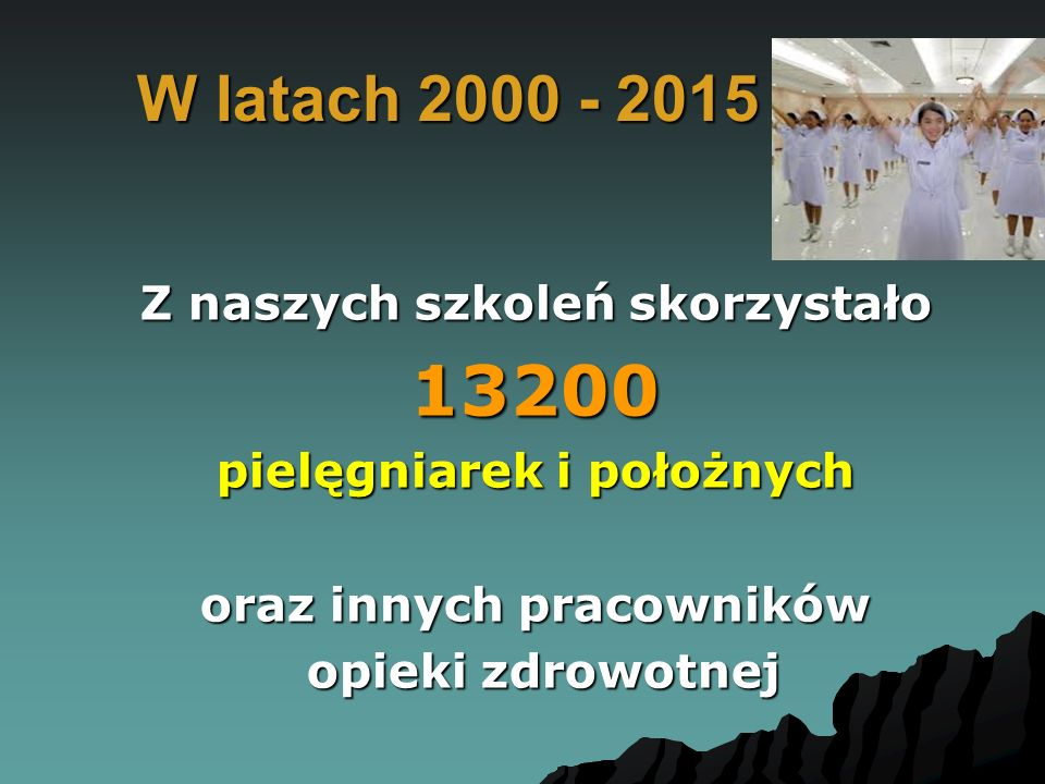 W latach 2000 - 2015 Z naszych szkoleń skorzystało 13200 pielęgniarek i położnych oraz innych pracowników opieki zdrowotnej opieki zdrowotnej