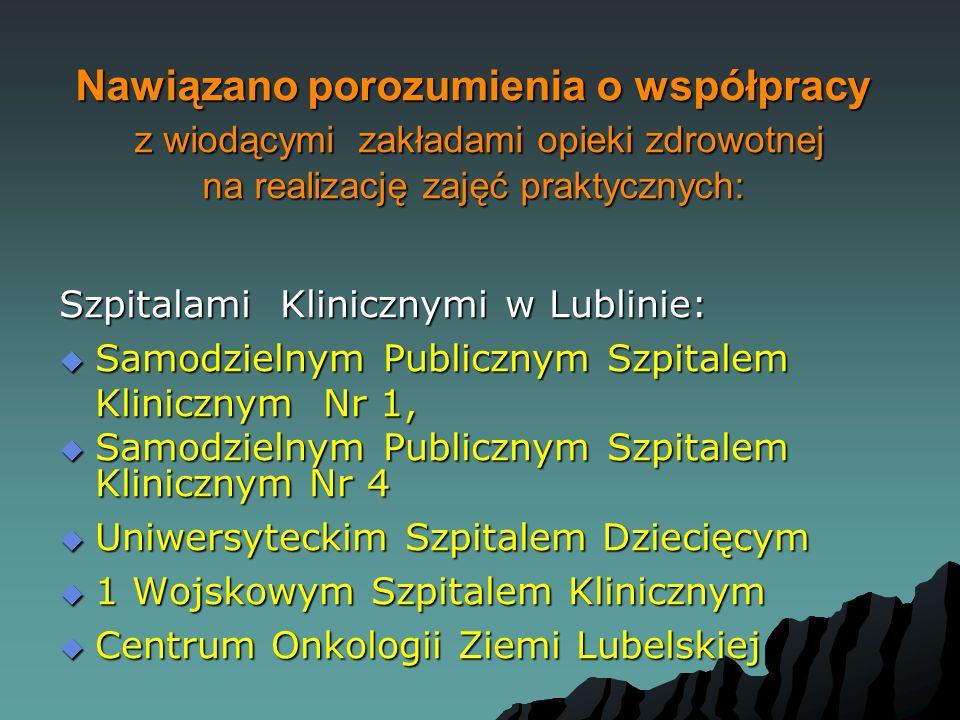 Nawiązano porozumienia o współpracy z wiodącymi zakładami opieki zdrowotnej na realizację zajęć praktycznych: Szpitalami Klinicznymi w Lublinie:  Sam