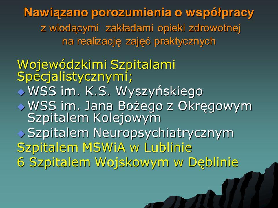 Nawiązano porozumienia o współpracy z wiodącymi zakładami opieki zdrowotnej na realizację zajęć praktycznych Wojewódzkimi Szpitalami Specjalistycznymi