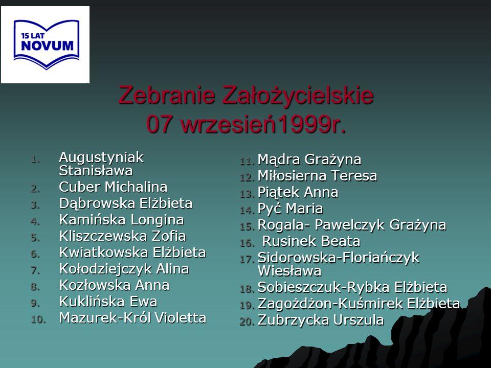 Zebranie Założycielskie 07 wrzesień1999r. 1. Augustyniak Stanisława 2. Cuber Michalina 3. Dąbrowska Elżbieta 4. Kamińska Longina 5. Kliszczewska Zofia