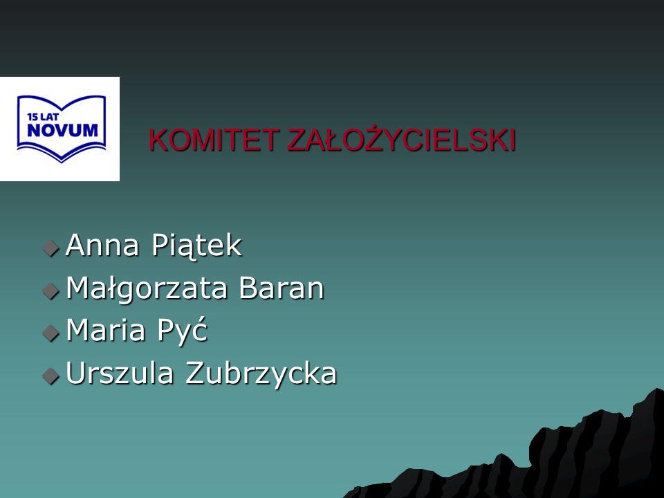 KOMITET ZAŁOŻYCIELSKI  Anna Piątek  Małgorzata Baran  Maria Pyć  Urszula Zubrzycka