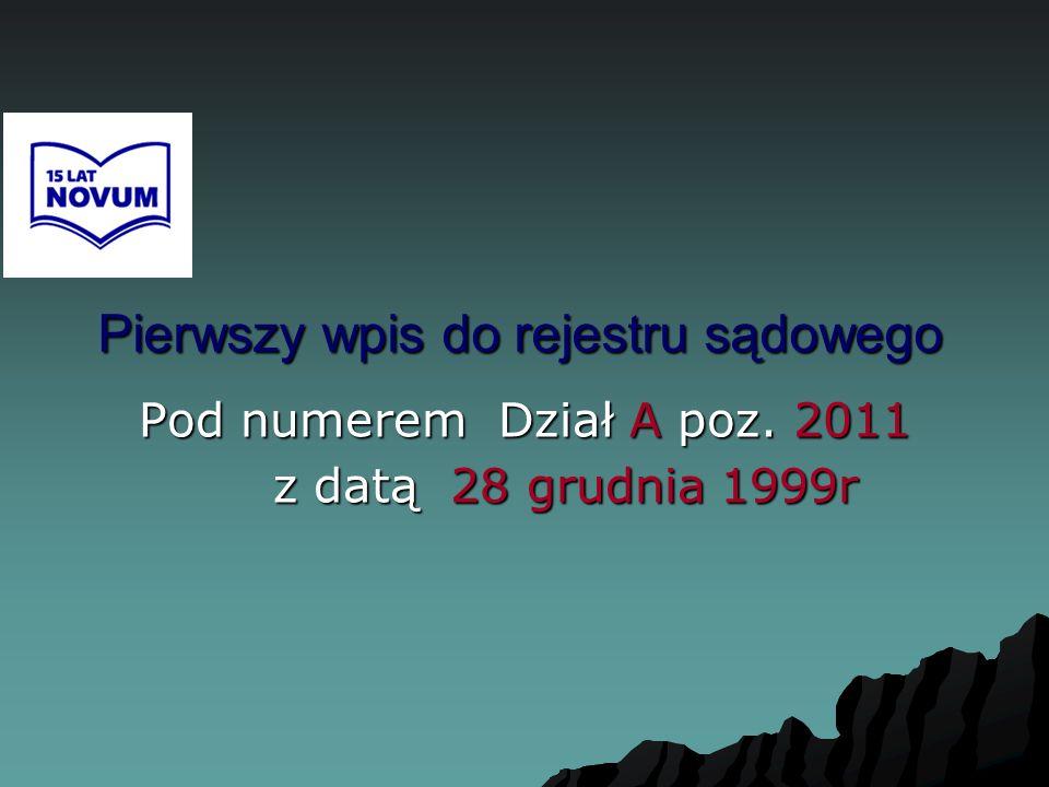 Początek działalności Stowarzyszenia NOVUM rok 2000 Rejestracja I Zarządu 31 stycznia 2000r.