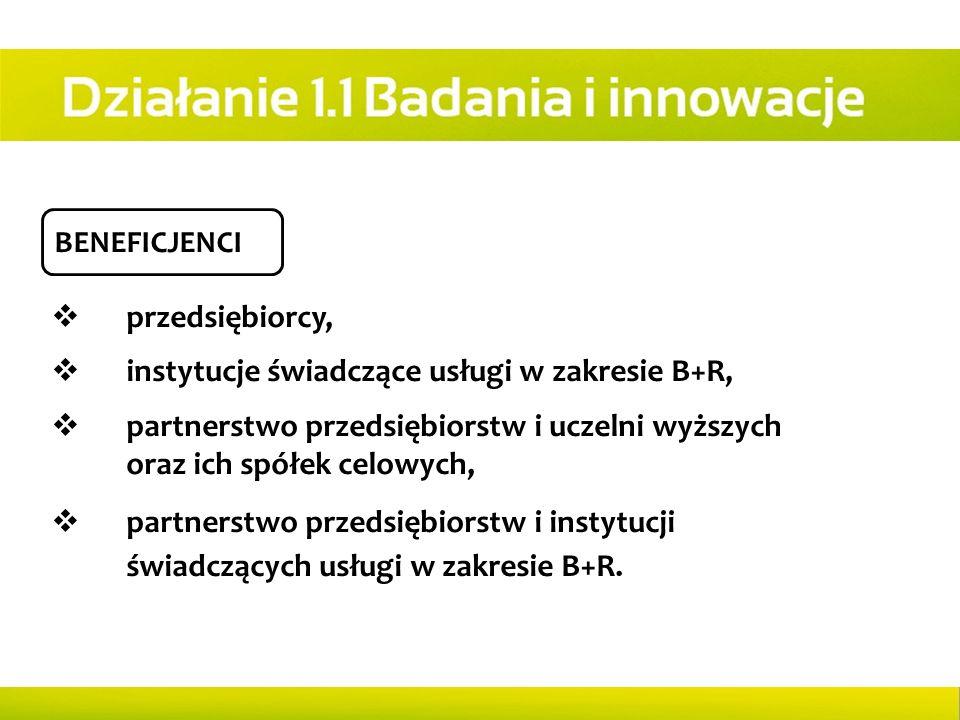 BENEFICJENCI  przedsiębiorcy,  instytucje świadczące usługi w zakresie B+R,  partnerstwo przedsiębiorstw i uczelni wyższych oraz ich spółek celowyc