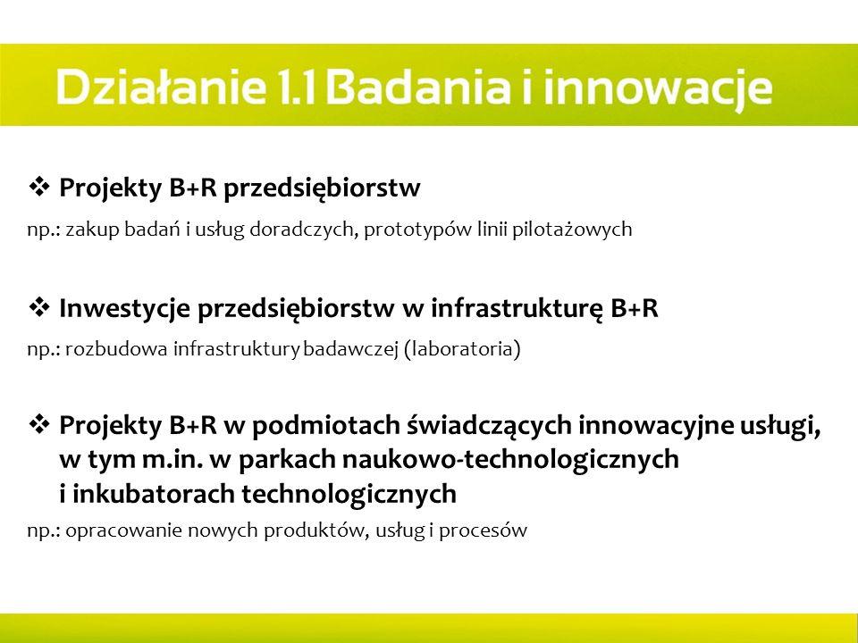  Projekty B+R przedsiębiorstw np.: zakup badań i usług doradczych, prototypów linii pilotażowych  Inwestycje przedsiębiorstw w infrastrukturę B+R np