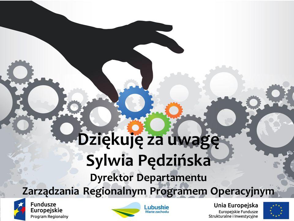 Dziękuję za uwagę Sylwia Pędzińska Dyrektor Departamentu Zarządzania Regionalnym Programem Operacyjnym