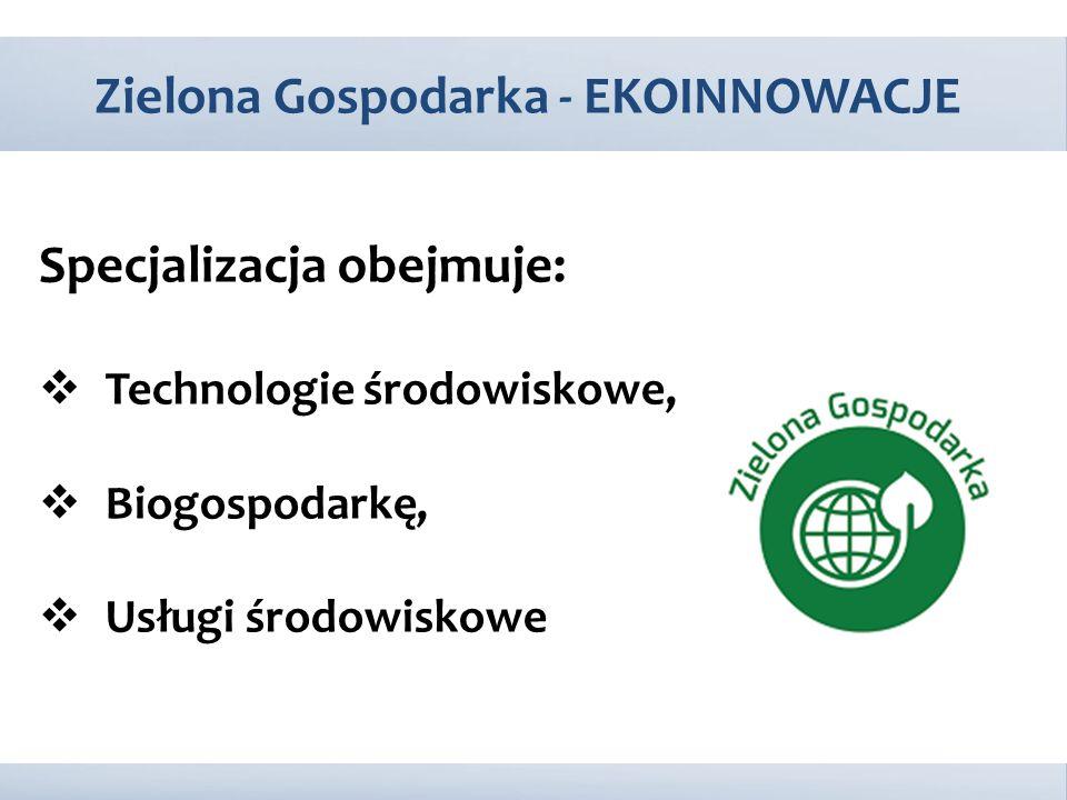 Specjalizacja obejmuje:  Technologie środowiskowe,  Biogospodarkę,  Usługi środowiskowe Zielona Gospodarka - EKOINNOWACJE