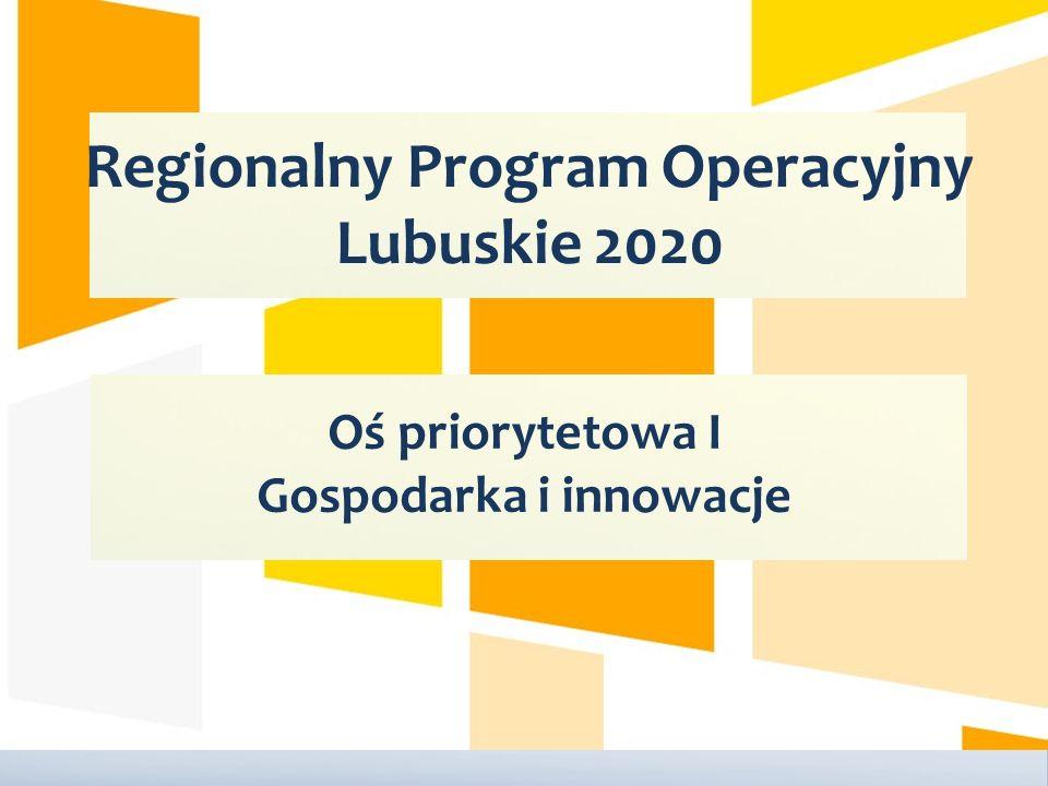 Regionalny Program Operacyjny Lubuskie 2020 Oś priorytetowa I Gospodarka i innowacje