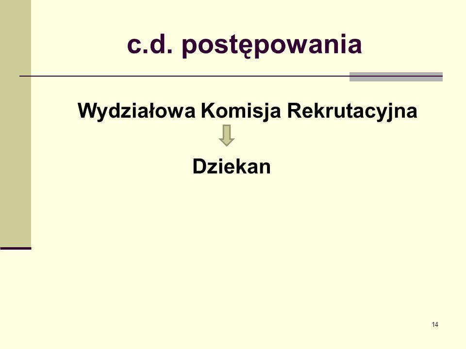 c.d. postępowania Wydziałowa Komisja Rekrutacyjna Dziekan 14