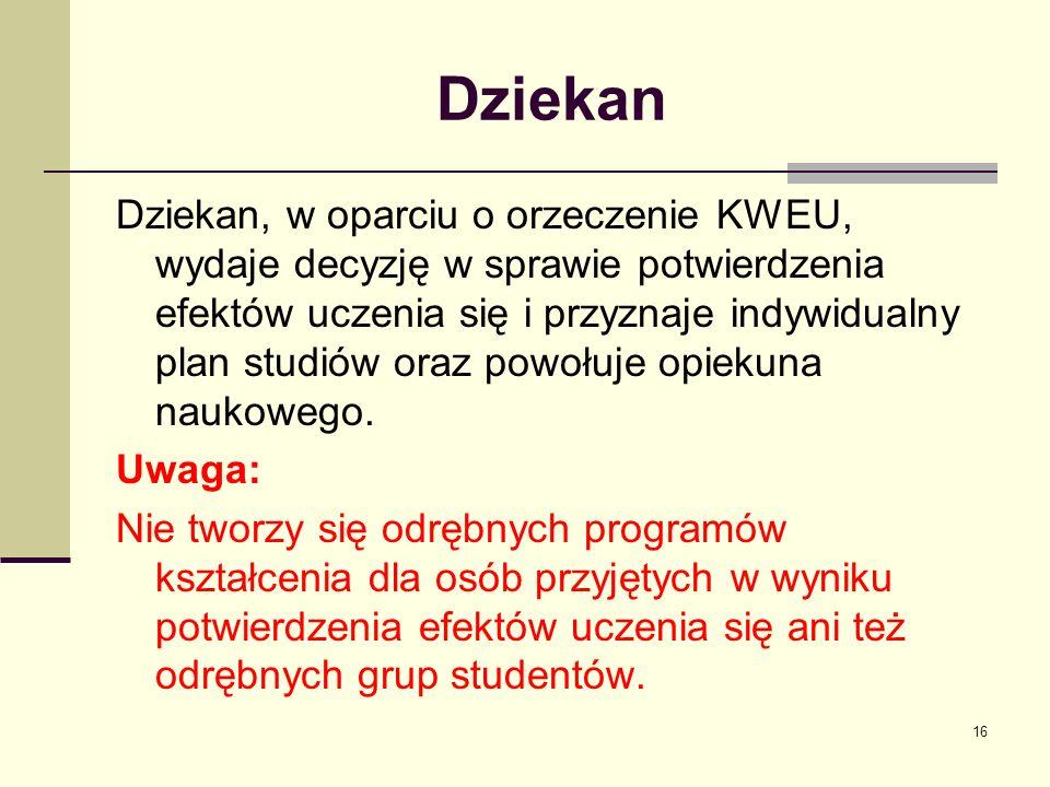 Dziekan Dziekan, w oparciu o orzeczenie KWEU, wydaje decyzję w sprawie potwierdzenia efektów uczenia się i przyznaje indywidualny plan studiów oraz powołuje opiekuna naukowego.