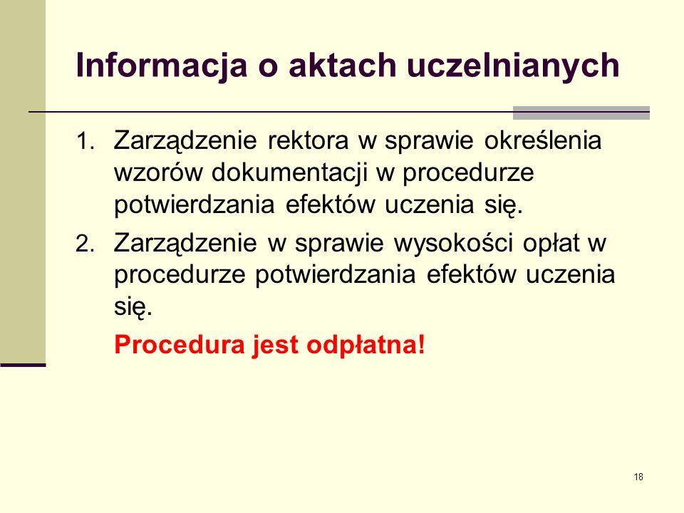 Informacja o aktach uczelnianych 1.