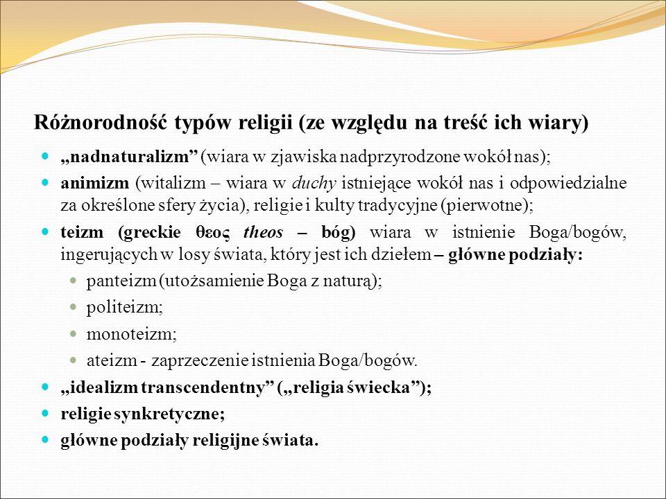 """Różnorodność typów religii (ze względu na treść ich wiary) """"nadnaturalizm"""" (wiara w zjawiska nadprzyrodzone wokół nas); animizm (witalizm – wiara w du"""