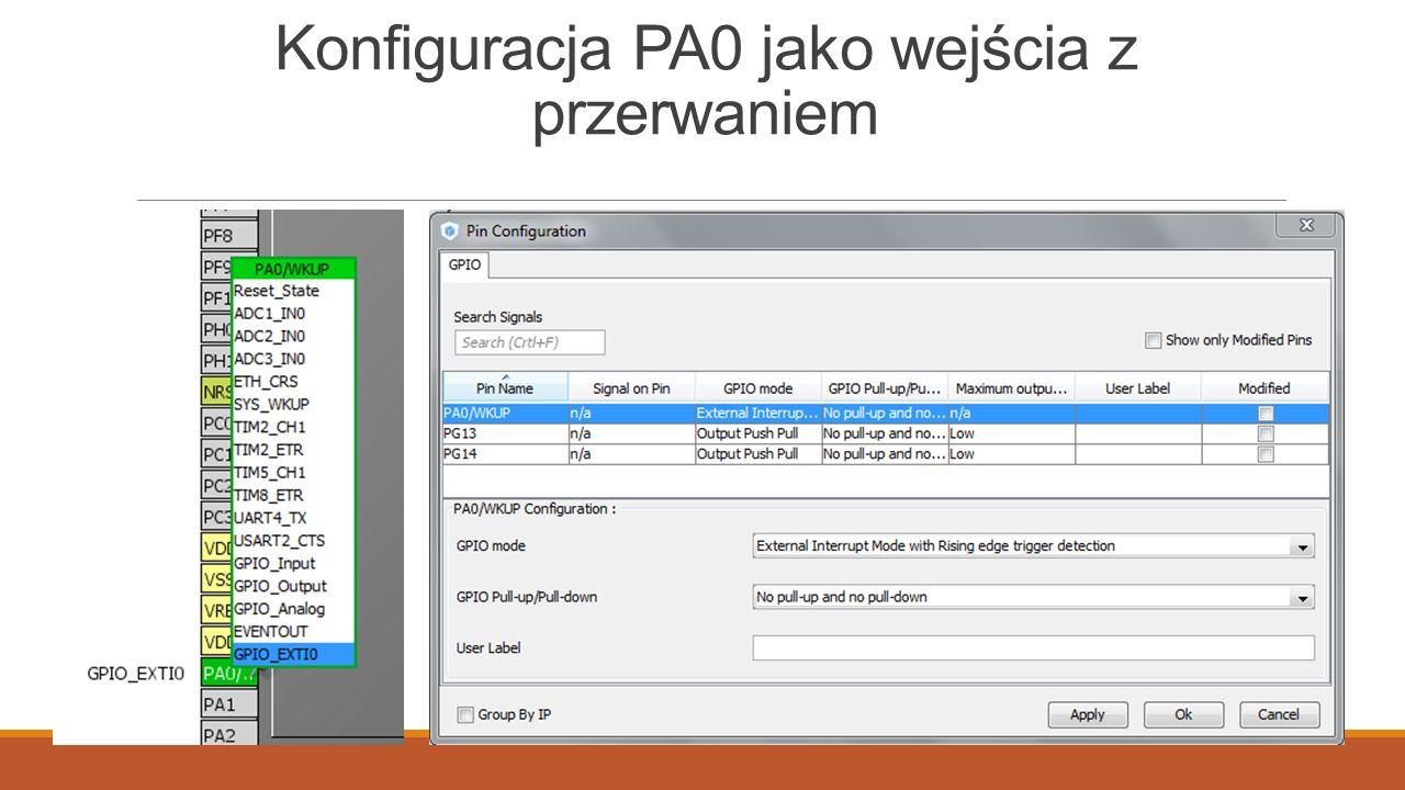 Konfiguracja PA0 jako wejścia z przerwaniem