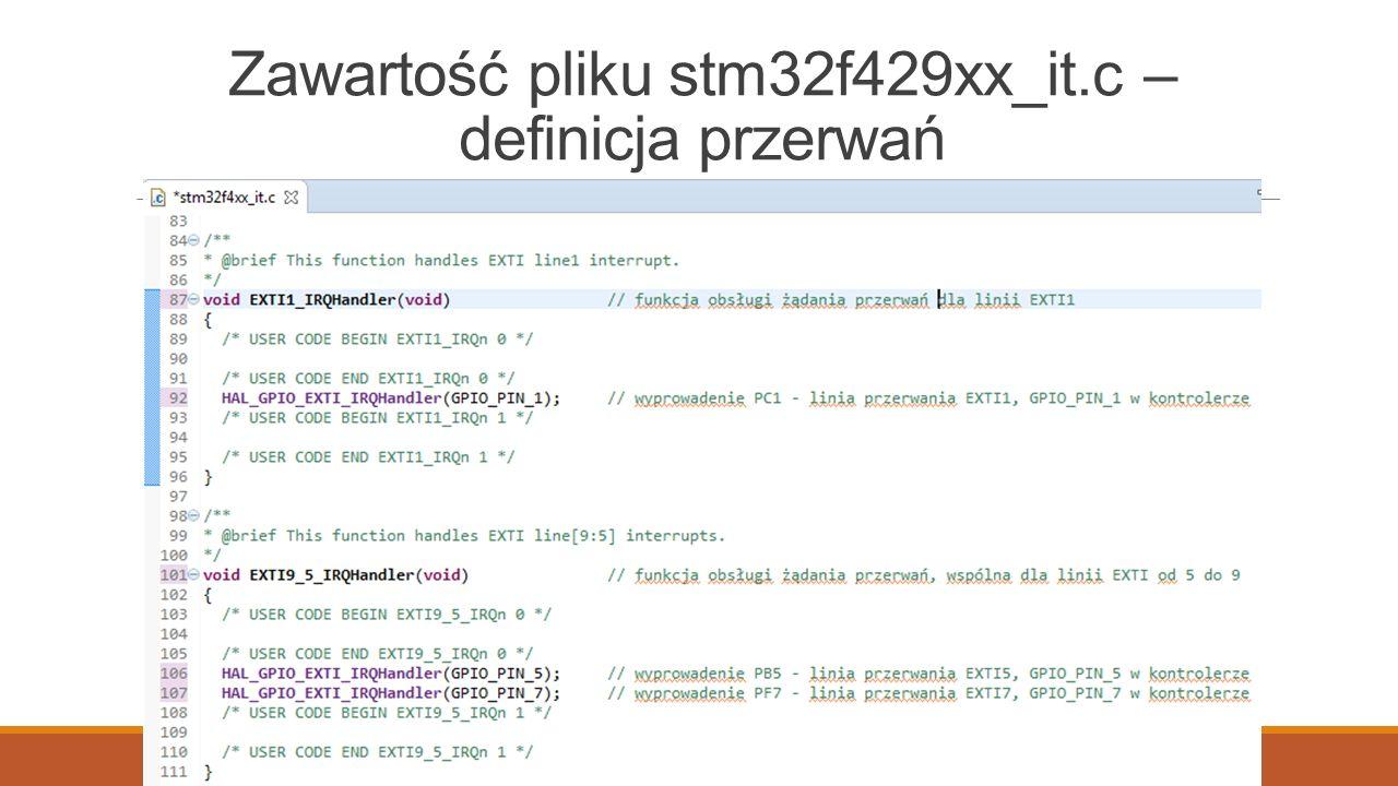 Zawartość pliku stm32f429xx_it.c – definicja przerwań