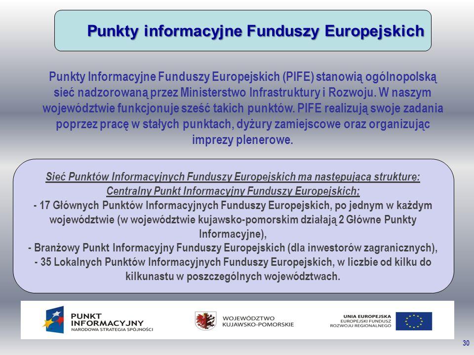 30 Punkty informacyjne Funduszy Europejskich Punkty Informacyjne Funduszy Europejskich (PIFE) stanowią ogólnopolską sieć nadzorowaną przez Ministerstwo Infrastruktury i Rozwoju.