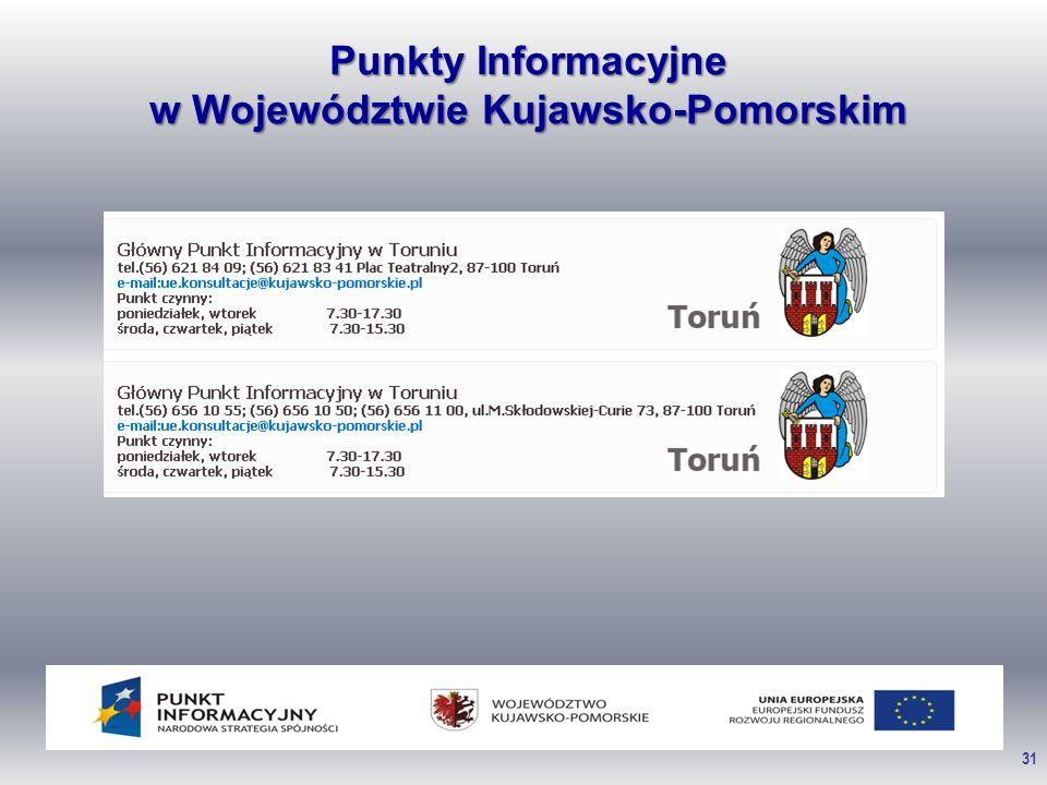 31 Punkty Informacyjne w Województwie Kujawsko-Pomorskim