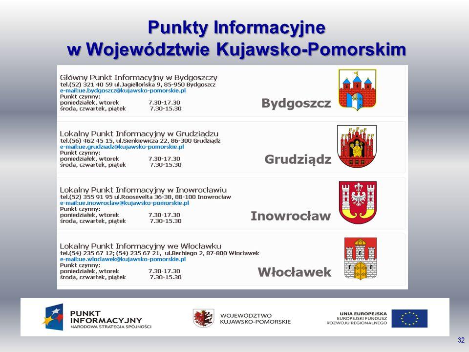 32 Punkty Informacyjne w Województwie Kujawsko-Pomorskim