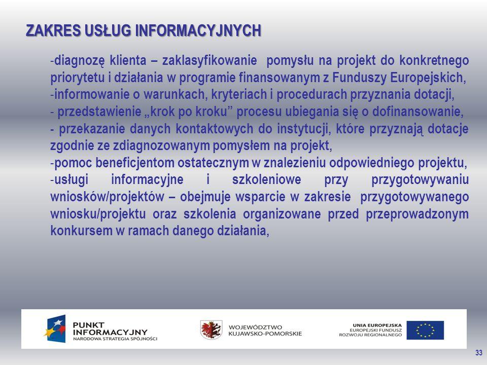 """33 ZAKRES USŁUG INFORMACYJNYCH - diagnozę klienta – zaklasyfikowanie pomysłu na projekt do konkretnego priorytetu i działania w programie finansowanym z Funduszy Europejskich, - informowanie o warunkach, kryteriach i procedurach przyznania dotacji, - przedstawienie """"krok po kroku procesu ubiegania się o dofinansowanie, - przekazanie danych kontaktowych do instytucji, które przyznają dotacje zgodnie ze zdiagnozowanym pomysłem na projekt, - pomoc beneficjentom ostatecznym w znalezieniu odpowiedniego projektu, - usługi informacyjne i szkoleniowe przy przygotowywaniu wniosków/projektów – obejmuje wsparcie w zakresie przygotowywanego wniosku/projektu oraz szkolenia organizowane przed przeprowadzonym konkursem w ramach danego działania,"""