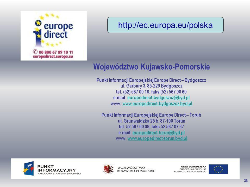 36 Województwo Kujawsko-Pomorskie Punkt Informacji Europejskiej Europe Direct – Bydgoszcz ul. Garbary 3, 85-229 Bydgoszcz tel. (52) 567 00 18, faks (5