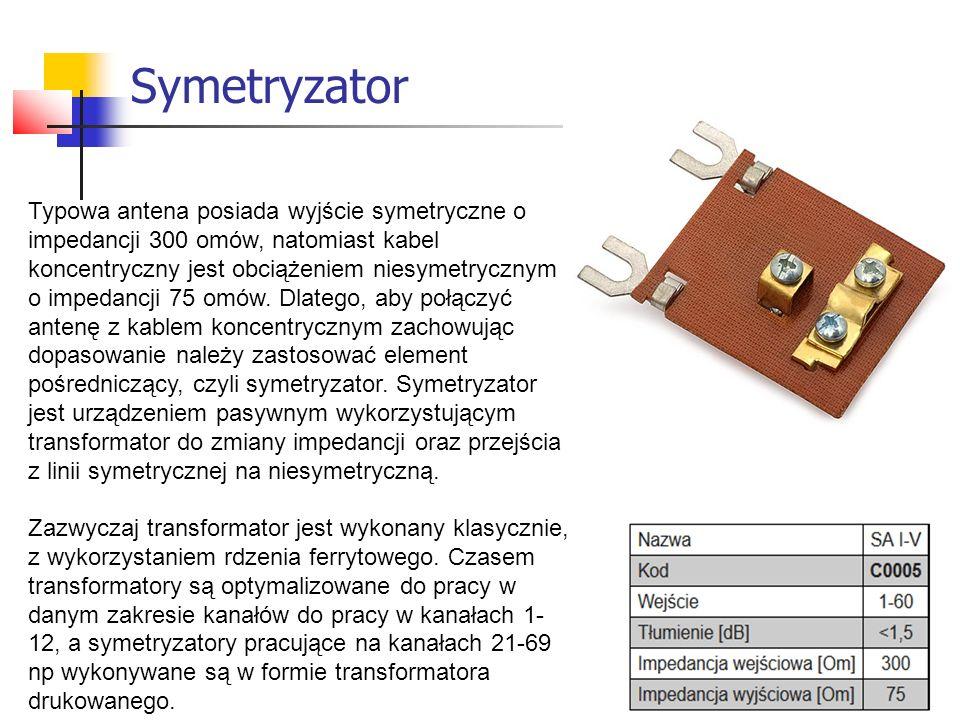 Symetryzator Typowa antena posiada wyjście symetryczne o impedancji 300 omów, natomiast kabel koncentryczny jest obciążeniem niesymetrycznym o impedan