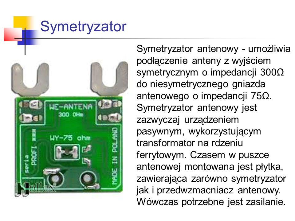 Symetryzator Symetryzator antenowy - umożliwia podłączenie anteny z wyjściem symetrycznym o impedancji 300Ω do niesymetrycznego gniazda antenowego o i
