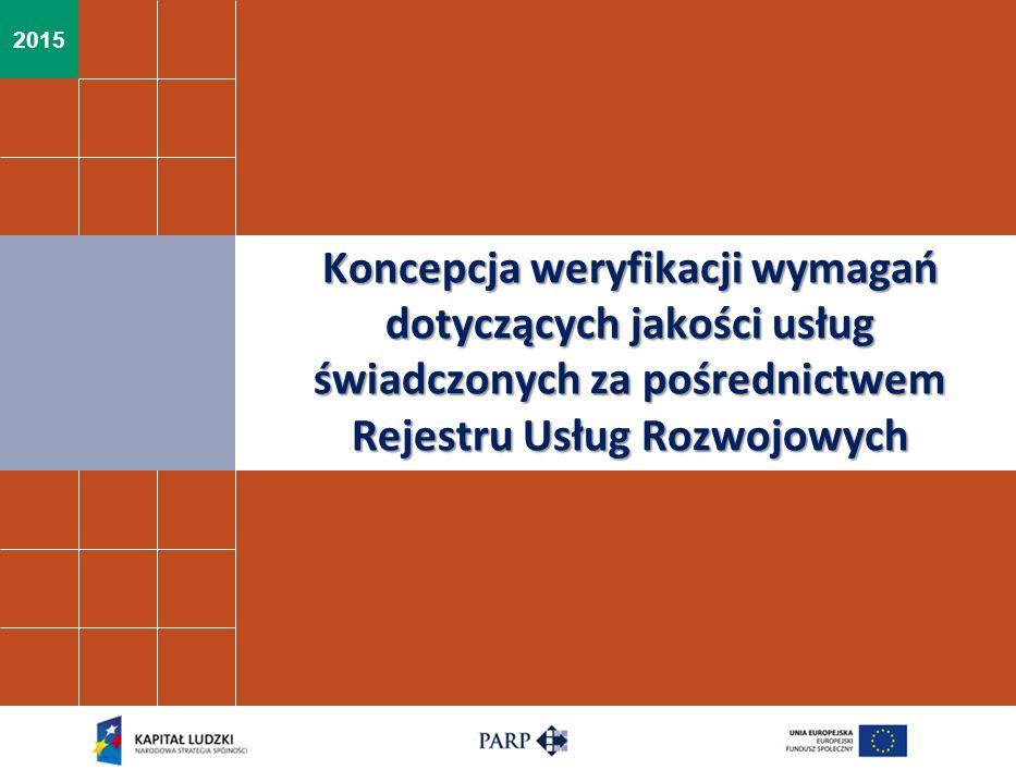 2015 Koncepcja weryfikacji wymagań dotyczących jakości usług świadczonych za pośrednictwem Rejestru Usług Rozwojowych