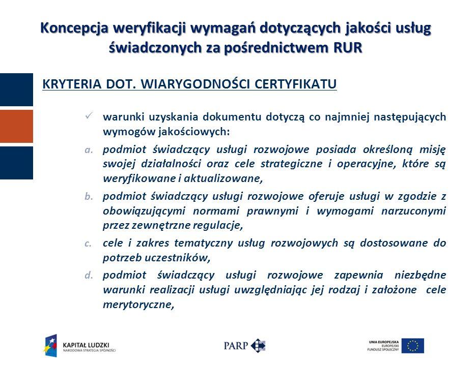 KRYTERIA DOT. WIARYGODNOŚCI CERTYFIKATU warunki uzyskania dokumentu dotyczą co najmniej następujących wymogów jakościowych: a. podmiot świadczący usłu