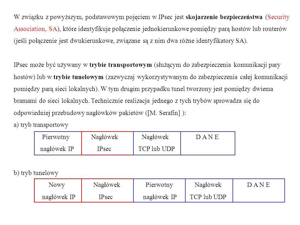 W związku z powyższym, podstawowym pojęciem w IPsec jest skojarzenie bezpieczeństwa (Security Association, SA), które identyfikuje połączenie jednokierunkowe pomiędzy parą hostów lub routerów (jeśli połączenie jest dwukierunkowe, związane są z nim dwa różne identyfikatory SA).
