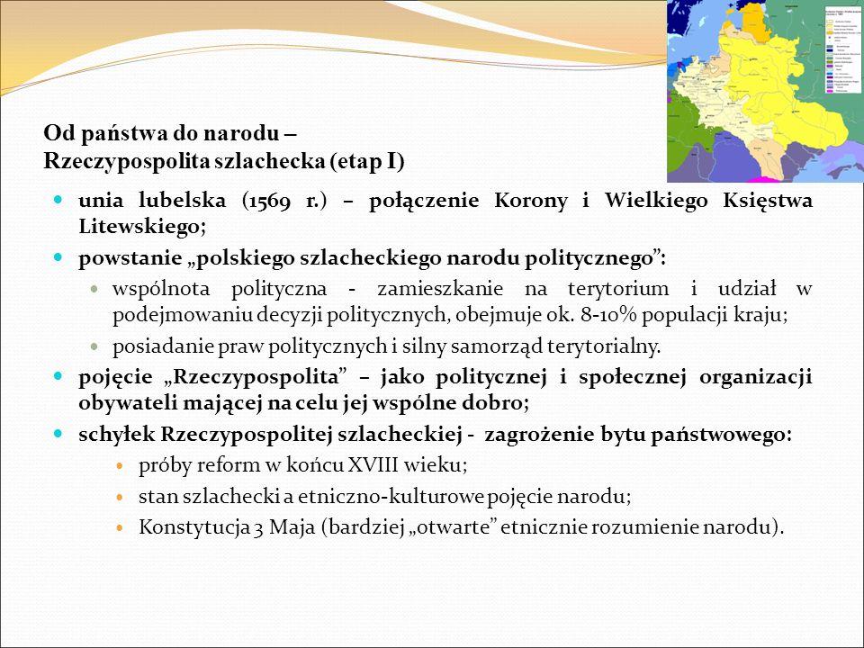 """Od państwa do narodu – Rzeczypospolita szlachecka (etap I) unia lubelska (1569 r.) – połączenie Korony i Wielkiego Księstwa Litewskiego; powstanie """"po"""