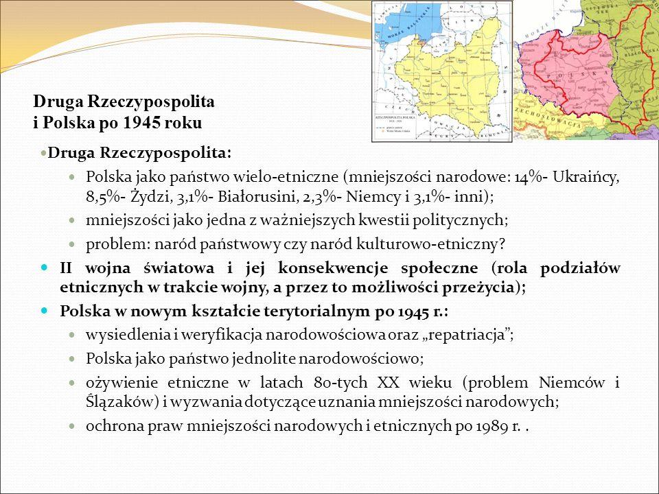 Druga Rzeczypospolita i Polska po 1945 roku Druga Rzeczypospolita: Polska jako państwo wielo-etniczne (mniejszości narodowe: 14%- Ukraińcy, 8,5%- Żydz