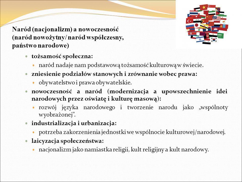 Naród (nacjonalizm) a nowoczesność (naród nowożytny/ naród współczesny, państwo narodowe) tożsamość społeczna: naród nadaje nam podstawową tożsamość k