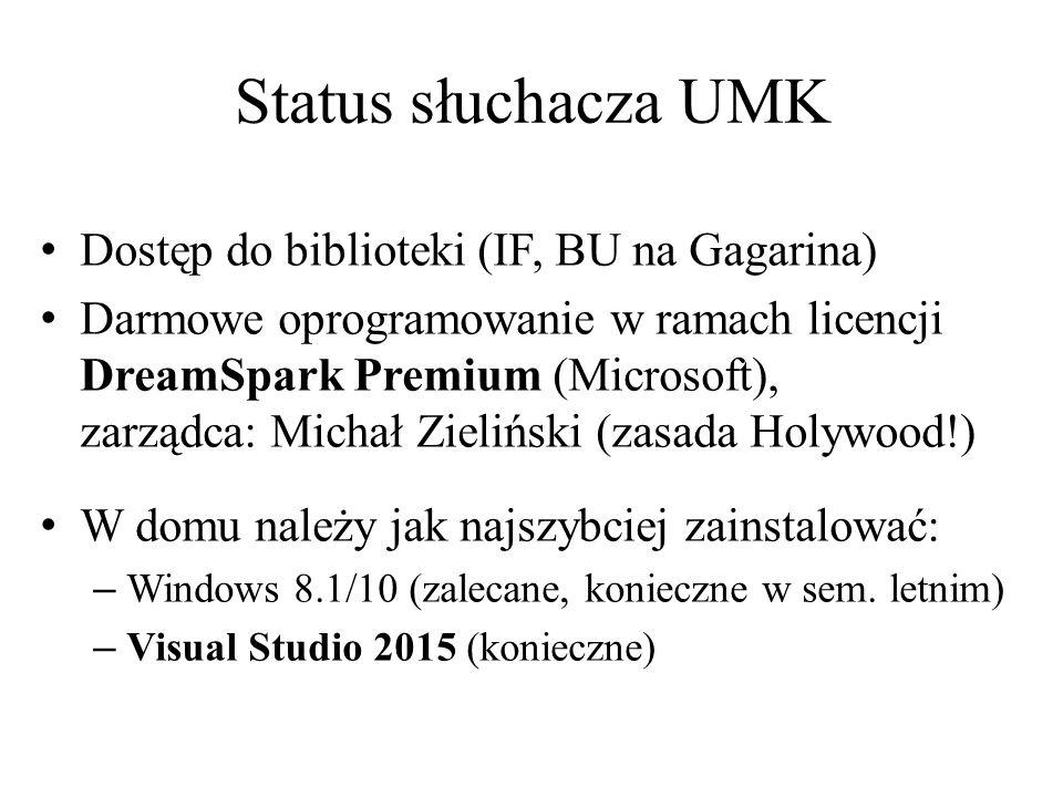 Status słuchacza UMK Dostęp do biblioteki (IF, BU na Gagarina) Darmowe oprogramowanie w ramach licencji DreamSpark Premium (Microsoft), zarządca: Mich