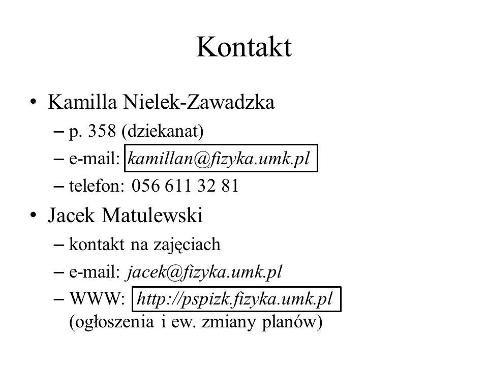 Kontakt Kamilla Nielek-Zawadzka – p. 358 (dziekanat) – e-mail: kamillan@fizyka.umk.pl – telefon: 056 611 32 81 Jacek Matulewski – kontakt na zajęciach