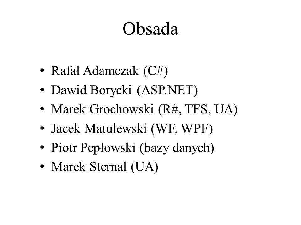 Obsada Rafał Adamczak (C#) Dawid Borycki (ASP.NET) Marek Grochowski (R#, TFS, UA) Jacek Matulewski (WF, WPF) Piotr Pepłowski (bazy danych) Marek Stern