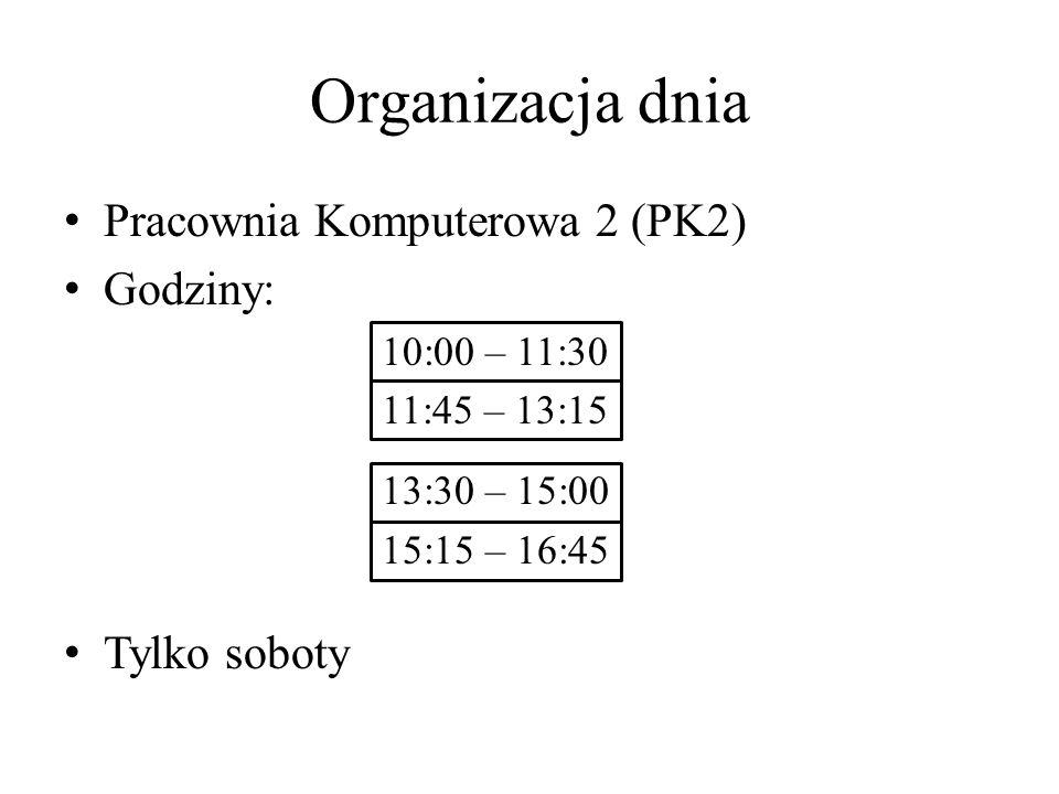 Organizacja dnia Pracownia Komputerowa 2 (PK2) Godziny: 10:00 – 11:30 11:45 – 13:15 13:30 – 15:00 15:15 – 16:45 Tylko soboty